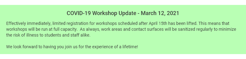 COVID-19 Workshop Update March 2021