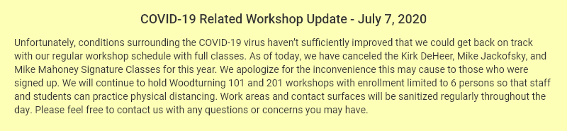 COVID-19 Related Workshop Update