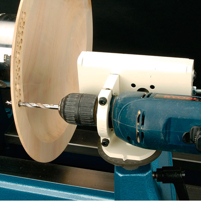 Drill jig on lathe